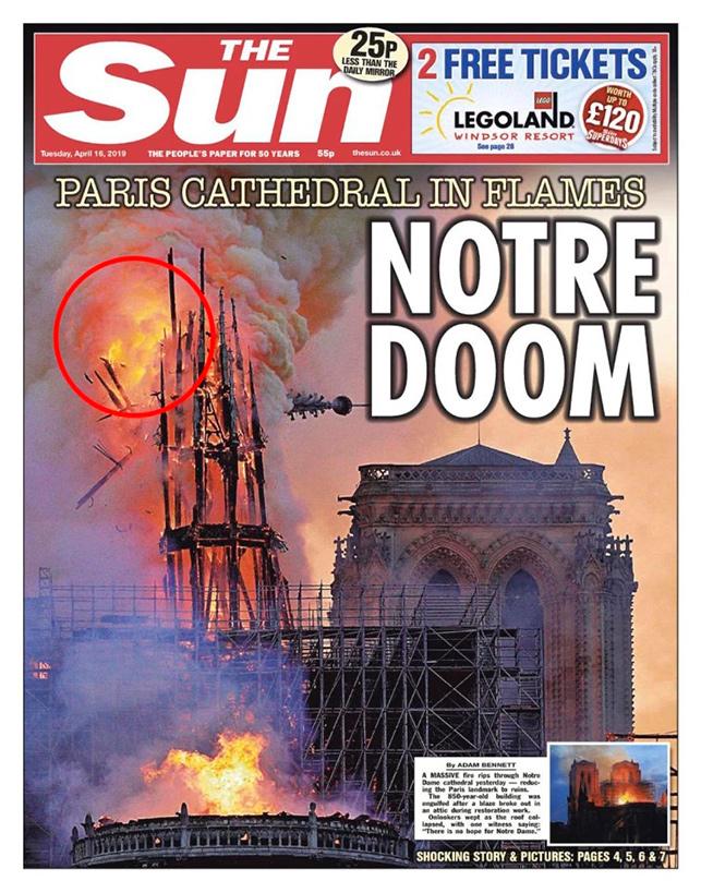 ФОТОФАКТ: Образ Иисуса Христа заметили на снимках пылающего собора Парижской Богоматери