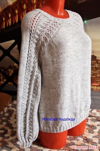 Джемпер спицами с необычным регланом сверху вязание спицами,джемпер спицами,Одежда,сделай сам,Хенд мейд